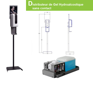 Distributeur de gel hydroalcoolique sans contact autoportant